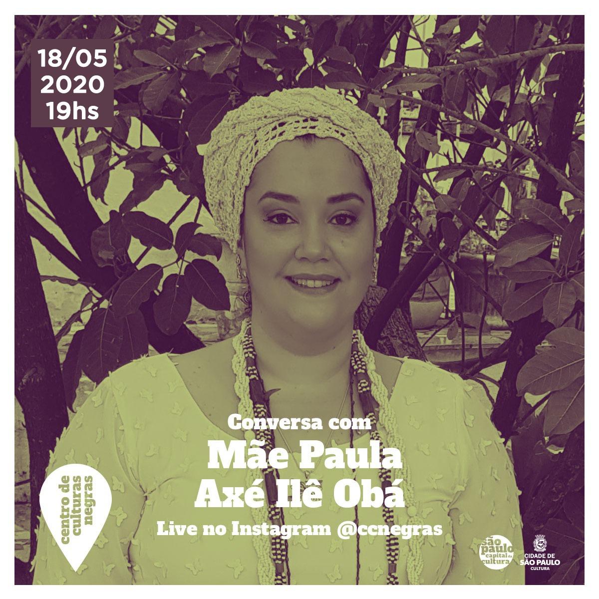 18/05 – Live No Instagram Do Centro De Culturas Negras Do Jabaquara – Mãe Sylvia De Oxalá. – As 19hs