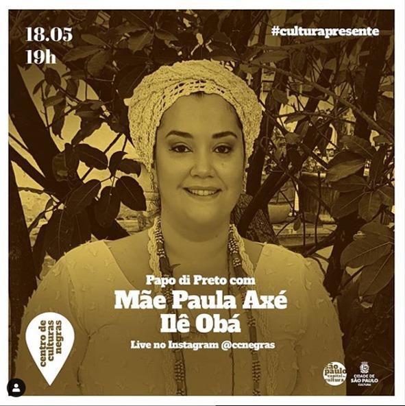 É HOJE! Live No Instagram Do CCNJ Com Mãe Paula De Yansã! Venha Participar!